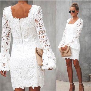 White bell long sleeve dress